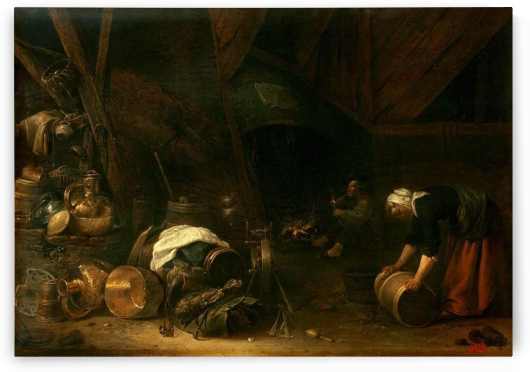 Interior with man smoking and woman working, 1634 by Cornelis Saftleven