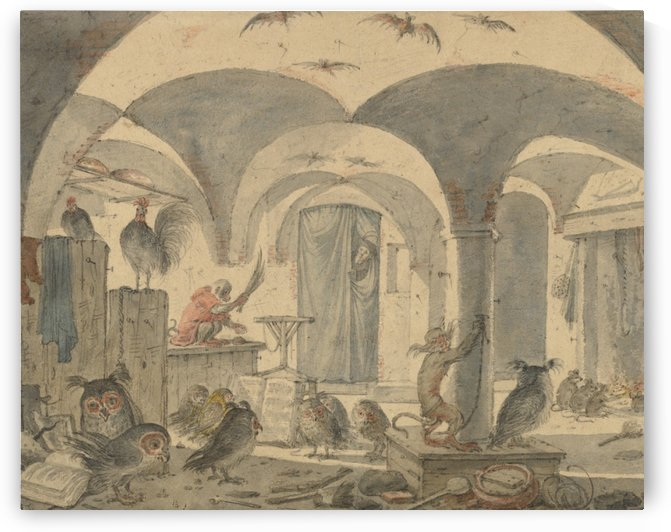 An enchanted cellar with animals by Cornelis Saftleven