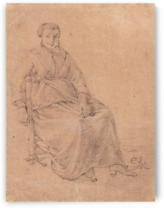 A seated housewife holding keys by Cornelis Saftleven