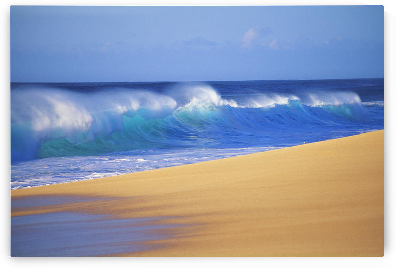Shorebreak Waves Along Sandy Beach, Blue Sky by PacificStock