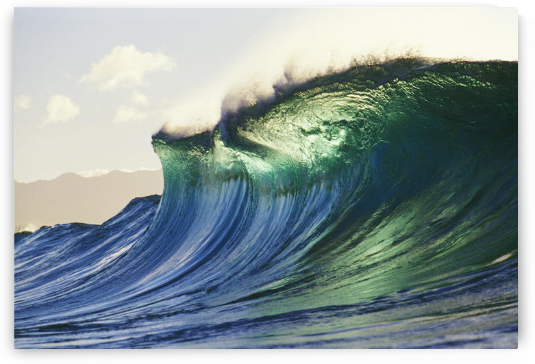 Hawaii, Oahu, North Shore; Large Green Blue Wave About To Curl, Mountains In Background. by PacificStock