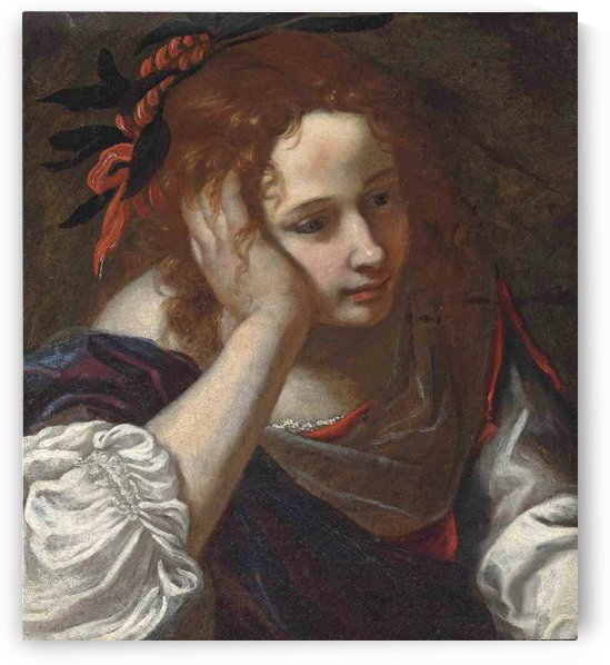 A young girl in a red dress with a purple cloak, her head resting on her hand by Jacopo Vignali