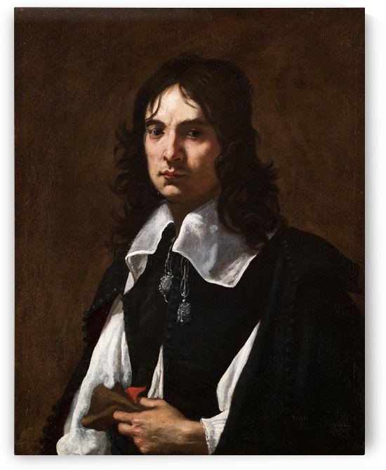 Portrait of a man with a glove by Jacopo Vignali
