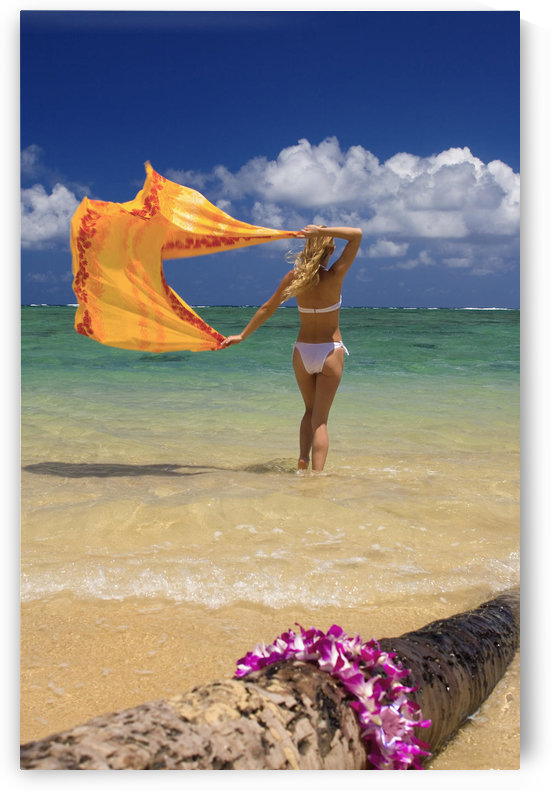 Hawaii, Oahu, Punaluu Beach, Beautiful Young Woman Standing In Ocean Holding Pareo, Lei In Foreground. by PacificStock