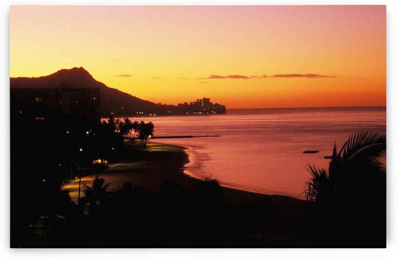 Hawaii, Oahu, Diamond Head At Dawn, Lights, Waikiki Beach, Orange And Pink Sky by PacificStock