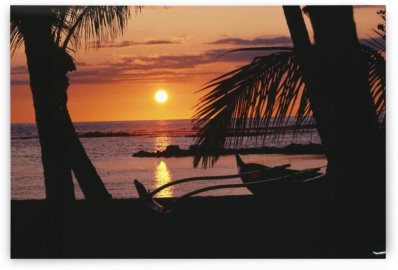 Hawaii, Big Island, Mauna Lani Beach Hotel, Ocean Sunset, Outrigger Canoe Resting On A Tropical Beach. by PacificStock