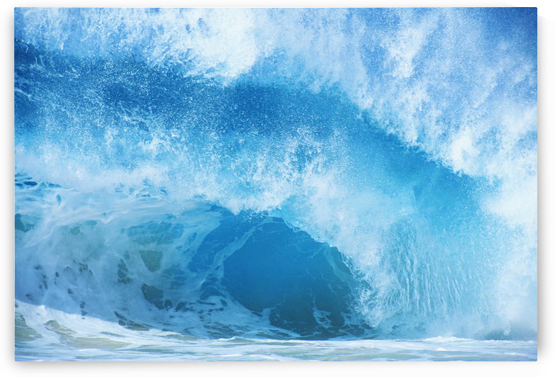 Closeup Of Crashing, Blue Wave by PacificStock