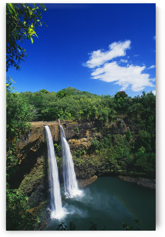 Hawaii, Kauai, Wailua Falls, 80 Foot High Waterfall Cascading Into Deep Pool. by PacificStock