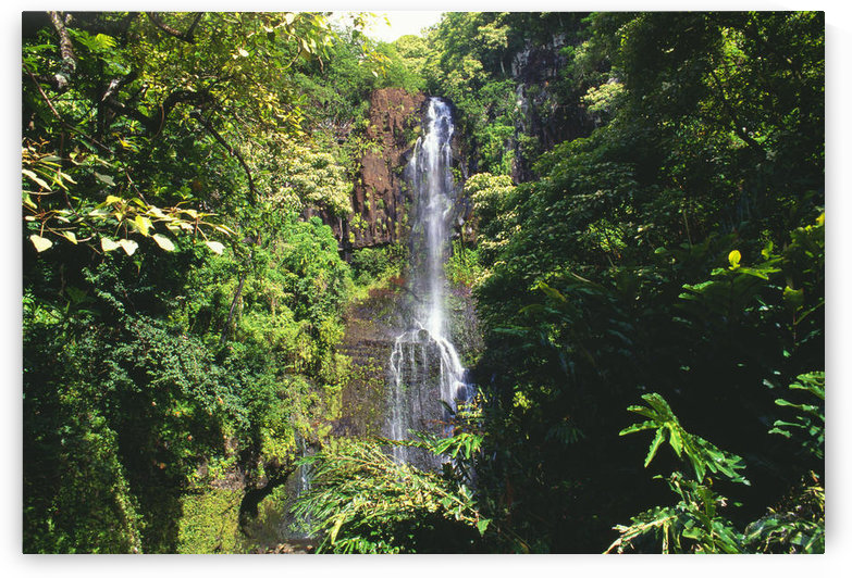 Hawaii, Maui, Hana Coast, Waterfall Surrounded By Lush Greenery by PacificStock