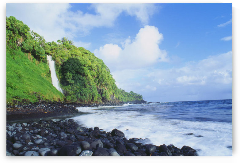 Hawaii, Maui, Hana, Pokupupu Point And Waikani Falls Going Into Ocean by PacificStock