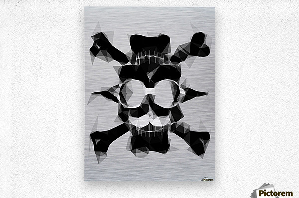 psychedelic skull art geometric triangle pattern abstract in black and white  Metal print