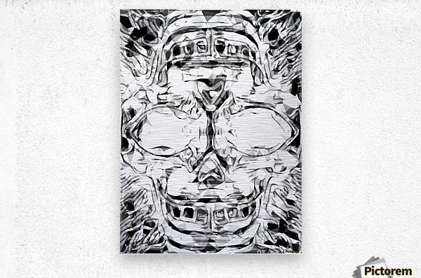 psychedelic skull art geometric triangle abstract pattern in black and white  Metal print