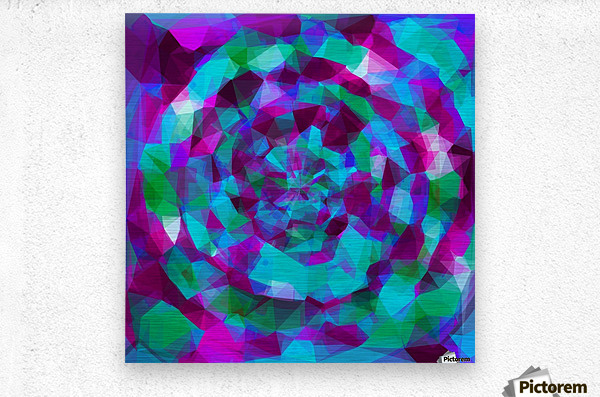 psychedelic geometric polygon pattern abstract in pink purple blue  Metal print