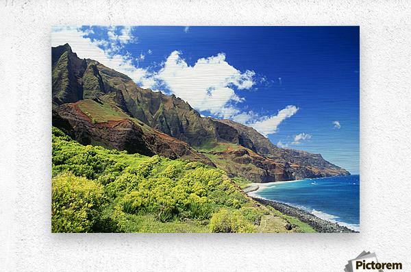 Hawaii, Kauai, Napali Coast, Kalalau Valley, Secluded Beach  Metal print