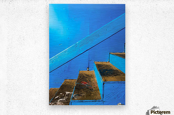 blue and brown old wood stairs with blue wall background  Metal print