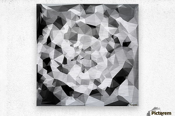 geometric polygon abstract pattern in black and white  Metal print