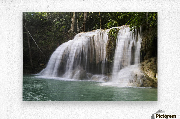 Thailand, Kanchanaburi Province, Erawan National Park, One Of The Falls From The 7-Tiered Erawan Waterfall  Metal print