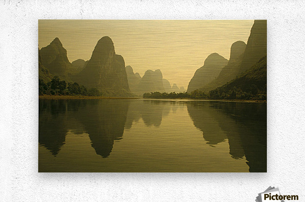China, Guilin, Piled Silk Mountains, Li River With Reflections In Water A72H  Metal print