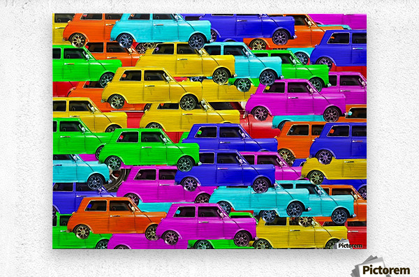 vintage car toy background in yellow blue pink green orange  Metal print