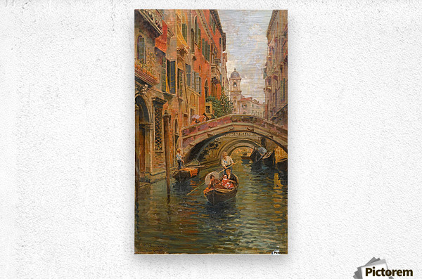 A walk with the gondola along a small canal in Venice  Impression metal