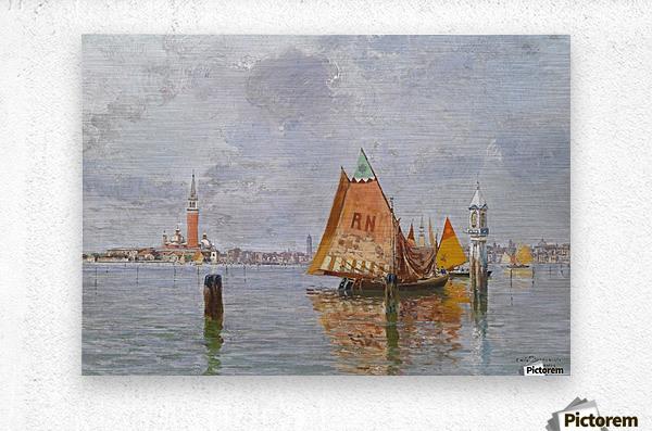 Fishing boats in Venetian lagoon  Metal print