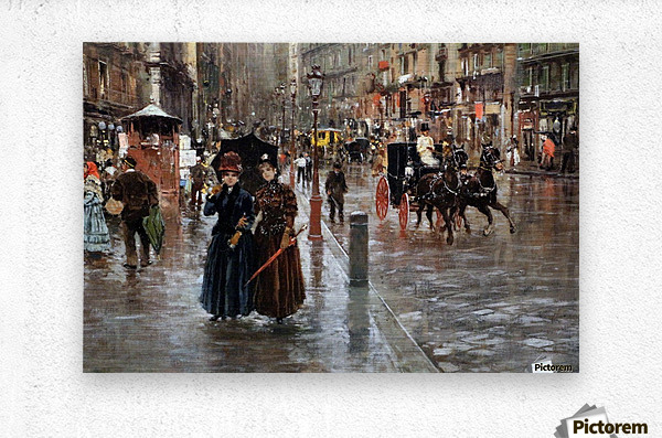 Naples via Toledo, with rain drops  Impression metal