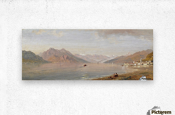 Lake view with mountains in the back  Metal print