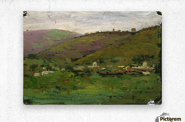Landscape with houses on an Italian hill  Impression metal