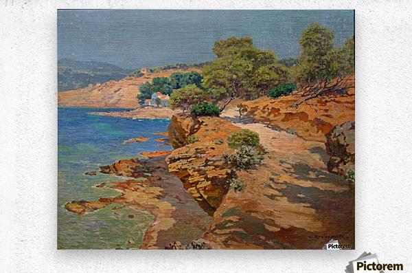 Landscape along the Italian coast  Impression metal