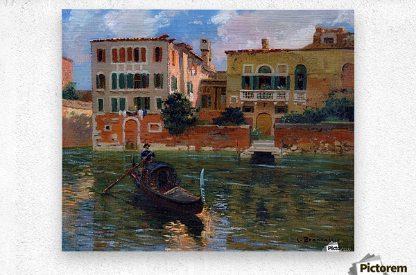 A gondola traveling along a canal in Venice  Impression metal
