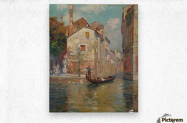 Gondola traveling along a canal in Venice  Impression metal