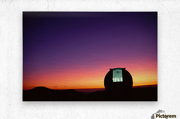 Hawaii, Big Island, Mauna Kea, Keck Observatory Open Dome, Twilight, Dramatic Sky A44E  Impression metal