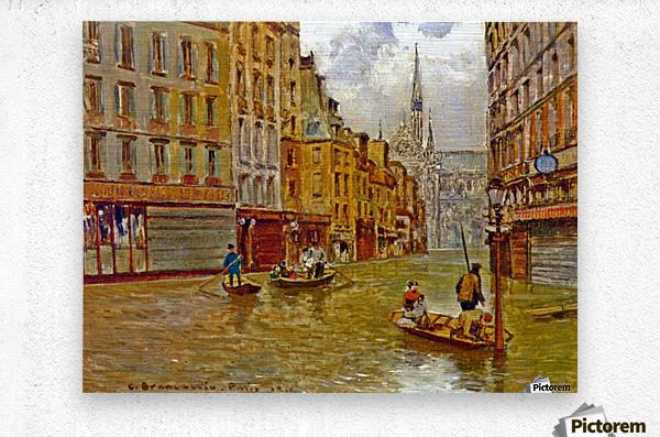 Street in Paris during Flood of 1910  Impression metal