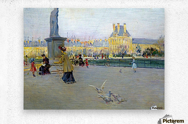 City view with figures and birds in Paris  Impression metal