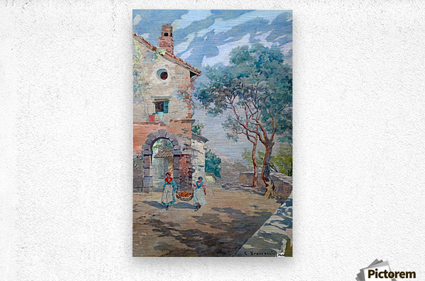 Two girls carrying fruits to their house  Impression metal