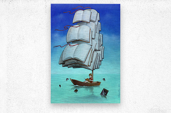 Journey with sharks  Metal print