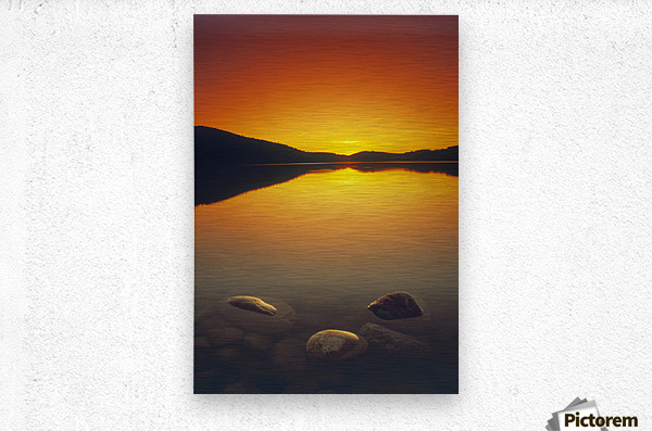 Reesor Lake At Sunset, Cypress Hills Interprovincial Park, Elkwater, Alberta, Canada  Metal print