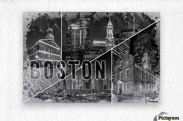 BOSTON Urban Collage No. 1  Metal print