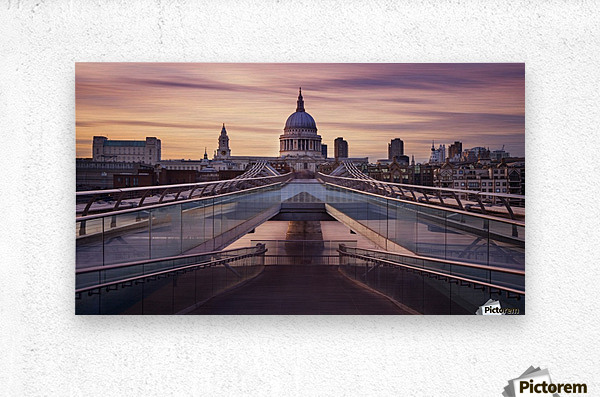 Millennium bridge leading towards St. Paul's church  Metal print