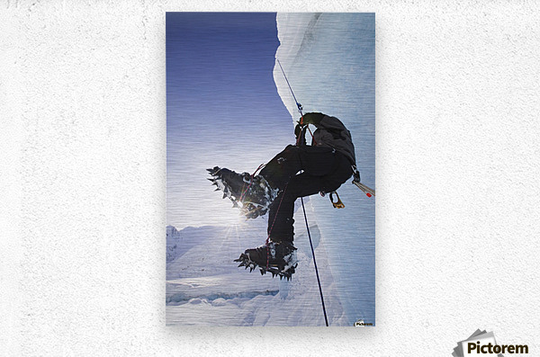 A Man Climbs A Rope Anchored On The Top Of Shakes Glacier, Stikine-Leconte Wilderness, Tongass National Forest, Southeast Alaska  Metal print