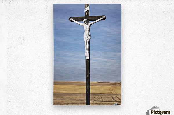 Crucifix and a farm field in the background;Saskatchewan canada  Metal print