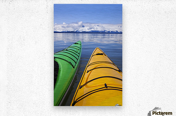 Kayakers enjoy a tranquil morning paddle in Lynn Canal, Alaska, near Juneau. Chilkat Mountains beyond.  Metal print