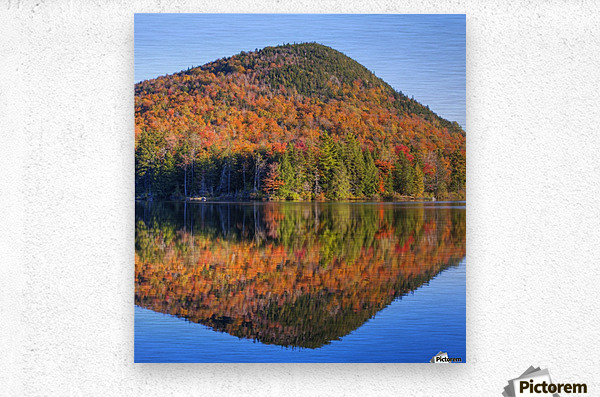 Mountain reflected in Sugarloaf pond in autumn; Quebec, Canada  Metal print