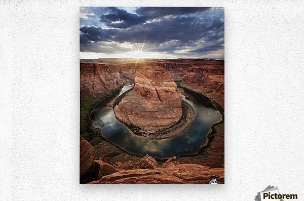 Dramatic sunset at Horseshoe Bend; Page, Arizona, United States of America  Metal print