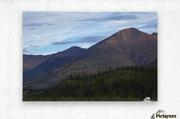 Late afternoon light shining on the mountains along the Wind River in the Peel Watershed; Yukon, Canada  Metal print