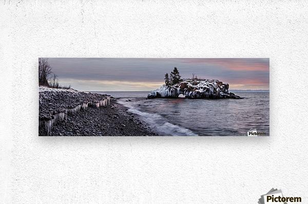Rocks and ice on Lake Superior; Thunder Bay, Ontario, Canada  Metal print