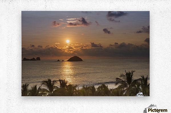 Sunset over the islands in front of Ixtapa; Ixtapa, Mexico  Metal print