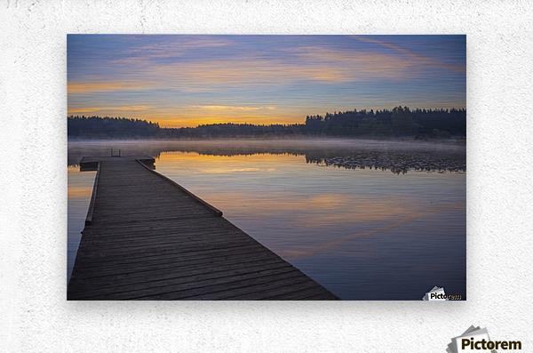 Reflection of a beautiful serene sunrise on peaceful Scott lake; Washington, United States of America  Metal print