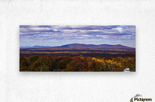 Mountain range in autumn colours with autumn coloured forest in the foreground; West Bolton, Quebec, Canada  Metal print