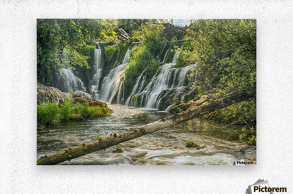 The Deschutes River Falls at the base of the old Olympia Brewery, an HDR image of only a portion of the falls; Tumwater, Washington, United States of America  Metal print